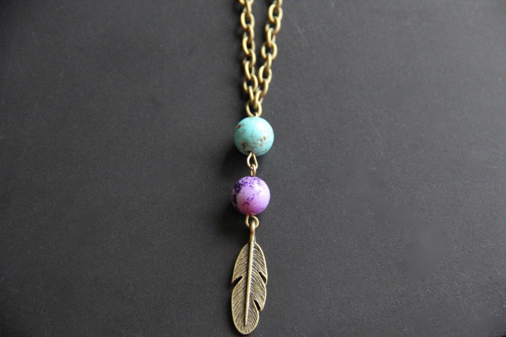 Blue and Purple Brass Feather Necklace
