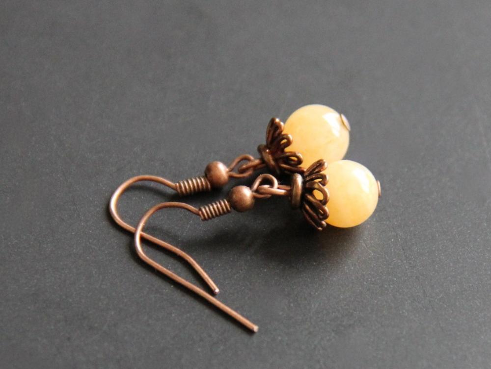 Yellow Jade Earrings Copper