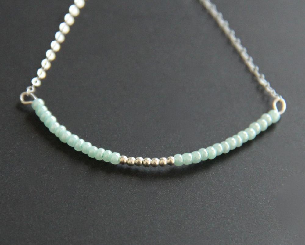 Light Green Bracelet Beaded Sterling Silver