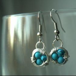 Blue Bird Nest Earrings Wire Wrapped