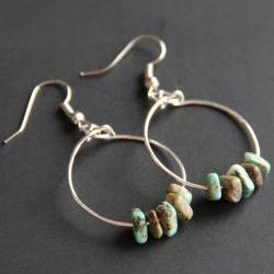 African Turquoise Hoop Earrings