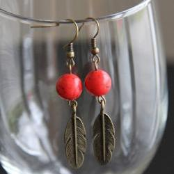 Red Bead Brass Feather Earrings Dangle